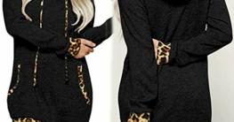 Fannyfuny Hoodie Damen Kleider mit Kapuze Frauen Herbst Winter Pullover Pulli Kleid Langarm Warme Leopard Gedruckt Kleider Knielang Kleid Casual Elegant Party Kleider Freizeit Kleider Wrap Kleid S-XXL - 3